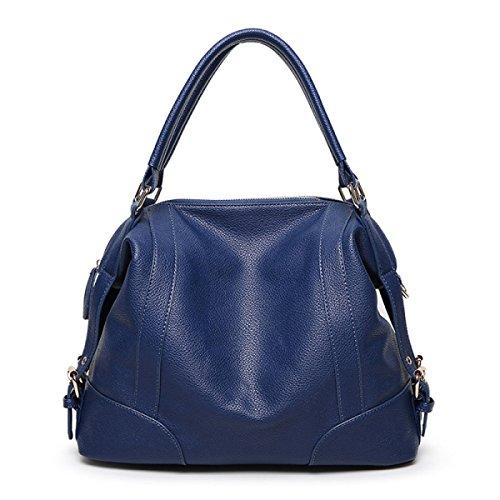 Womens Handbag Autunno Inverno Moda Ladies Shopper Partito Di Cuoio Retro Banchetto Grande Borsa Blue