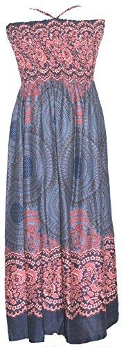 Damen Midi Kleid Rock Verschiedene Farben und Muster Blue Orange Circle