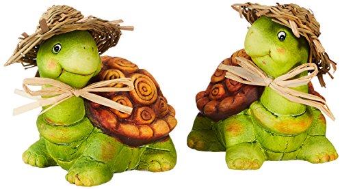 Heitmann Deco - Keramik-Schildkroeten mit Strohhüten 2er-Set - schöne Deko für Haus, Garten und Teich - bunt bemalt