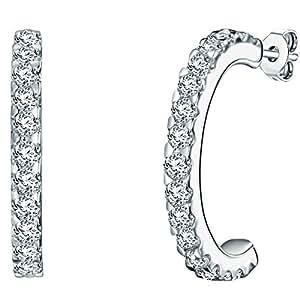 Rafaela Donata Damen-Creolen Classic Collection Zirkonia weiß 925 Sterling Silber 60837037
