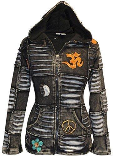 29f47edf1d9 SHOPOHOLIC FASHION Women Black Fleece Lined Om Ribbed Gothic Jacket Ladies  Festival Hippie Hoodies  S
