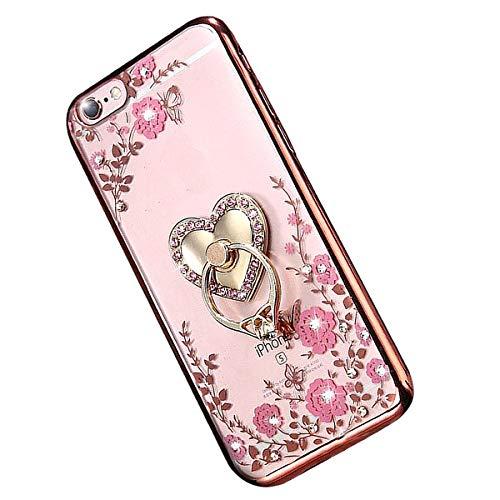 Miagon Glitzer Durchsichtig Transparent Blumen Schmetterling Galvanik Silikon Hülle mit 360 Grad Diamant Ring Ständer Strass Schutzhülle für iPhone 11 (6.1 Zoll)