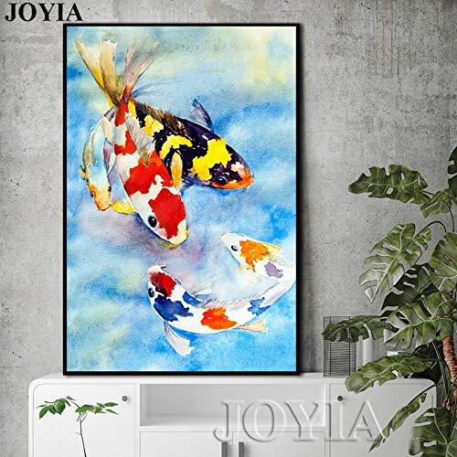 ZJMI Bunte Karpfen Fische malen Koi Fisch Wand Kunst Freehand blaues Bild Home Wohnzimmer Einrichtung Kunstdrucke auf Leinwand Größe ohne Rahmen 50cmx70cm (Koi Fisch-wand-kunst)