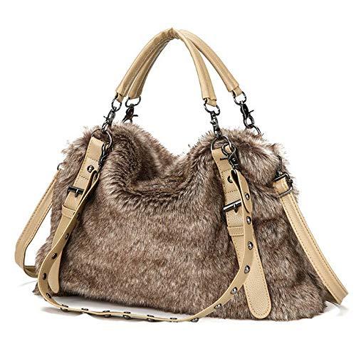 Borsa a tracolla in pelle morbida in pelliccia da donna borsa a tracolla classica grande capacità da donna borse borsa tote borse da viaggio alla moda,brown-m