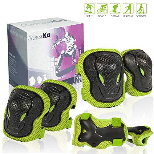 AresKo Knieschoner Kinder, Inliner für Kinder Protektoren Knieschützer Set, 6 in 1 Ellenbogenschoner Handgelenkschoner Schutzausrüstungen Set (Grün)