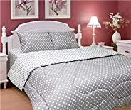 Regency REG-PDG-QFTD 144TC 100% Cotton Single Queen Size Polka Dot Fitted Sheet, Grey, Fitted sheet 180 x 200