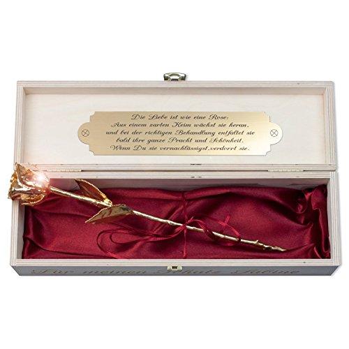 Geschenke 24: Goldene Rose 24 cm - Holz-Geschenkebox mit Gravur - vergoldete Rose mit Personalisierung - Romantisches Liebesgeschenk