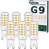 Ampoules LED G9, 5W Equivalent 50W Halogène Lampe, 15.5mm x 51mm Blanc Chaud 3000K 500LM Non Dimmable Sans Scintillement AC/D