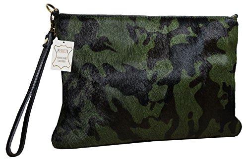 FERETI Borsa pelle pelliccia Verde Nero militare camuffamento esercito army donna moda 2 in 1