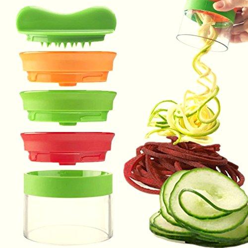 LEUFT® Premium Bundle 3 Klingen Spiralschneider inkl. Reinigungsbürste & Orangenschäler, 3 in 1 SET. Gemüse-Nudeln Spaghetti Julienne Gemüseschneider Zucchini Low Carb Rohkost Fit