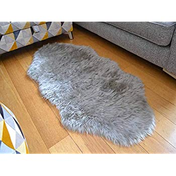 Rugs Supermarket Cream Ivory Faux Fur Double Sheepskin