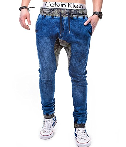 BetterStylz - Pantalon - Relaxed - Homme Multicolore Multicolore Multicolore - Dunkel Blau / Wood Camo