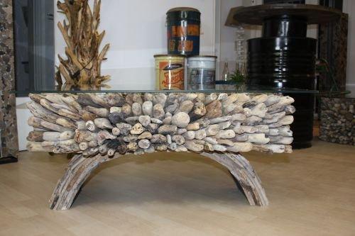 Treibholztisch mit Glas