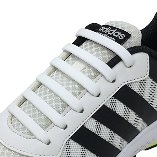 Newkeen Tie Shoelaces for Kids and Adults- silicone elastico piatto Laces Athletic scarpa da corsa con multicolore per Scarpe Sneakerboots bordo e scarpe casual (White)