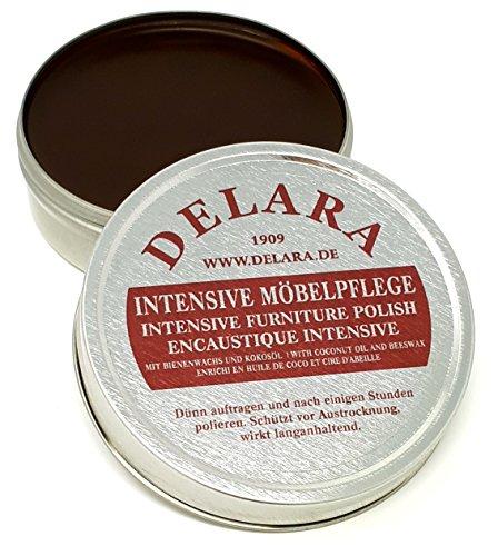 DELARA Intensive Möbelpflege, sehr hochwertiges Möbelwachs mit Bienenwachs und Kokosöl, 150 ml, braun - Made in Germany