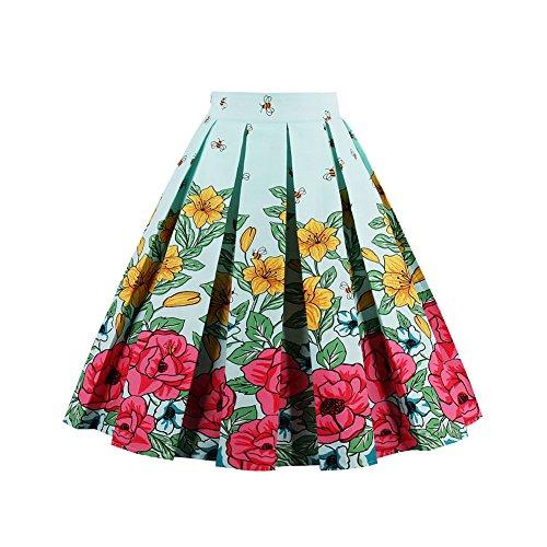FeelinGirl Damen Elegant Faltenrock A-linie Rockabilly Röcke Chiffonrock mit Blumenmuster Knielang (Tweed-faltenrock)