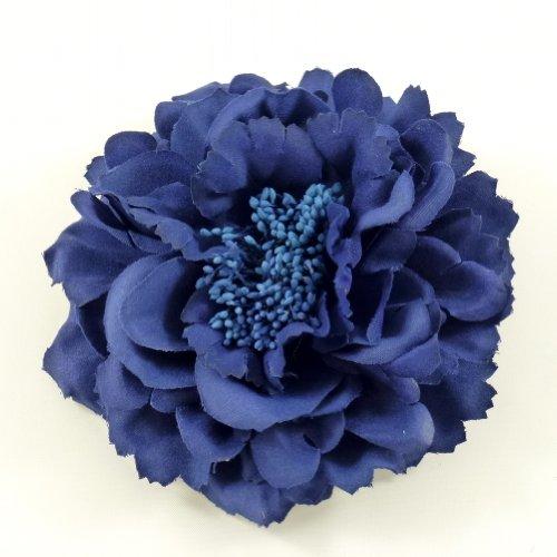 rougecaramel - Accessoires cheveux - Broche fleur / pince cheveux mariage 11cm - bleu marine