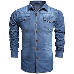 Coofandy Camisa Vaquera Slim Fit 2 Pocket para Hombre Algodón Azul de Cielo L