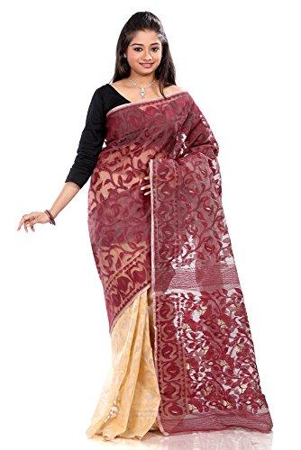 B3Fashion half-n-half traditional Pure Dhakai Handloom Silk Jamdani saree in Beige and Maroon with Maroon weave design, border and pallu with Maroon weave and zari an elegant party wear