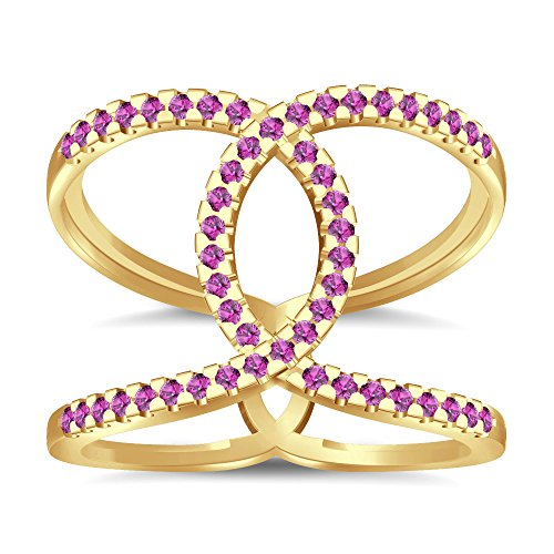 Silvernshine Halo Twist Pink Sapphire CZ Diamond Engagement Ring 14k Yellow Gold PL Bridal Ring