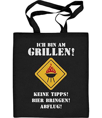 Shirtgeil Coole Grillschürze mit Spruch - Ich Bin Am Grillen Keine Tipps Bier Abflug Jutebeutel Baumwolltasche One Size Schwarz