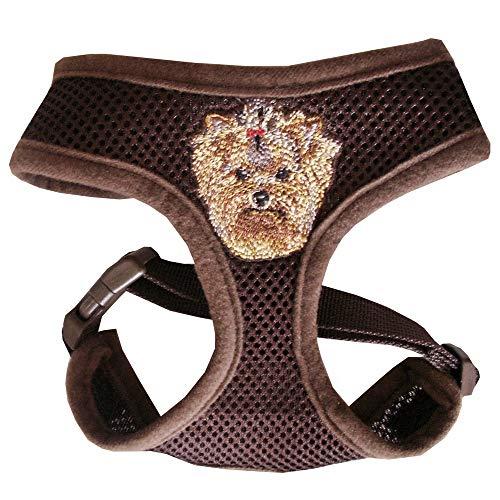 Hundegeschirr Brustgeschirr Geschirr für Yorkshire Terrier Yorkie braun mit Stickerei verstellbar für Brustumfang von 30-43 cm