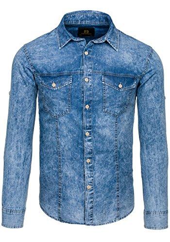 BOLF – Chemise casual – avec manches longues – Jeans – DENIM REPUBLIC 4405 – Homme Bleu