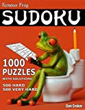 Famous Frog Sudoku 1,000 Puzzles With Solutions. 500 Hard and 500 Very Hard: A Bathroom Sudoku Series Book: Volume 19