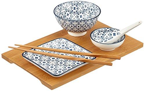 Domestic by Mäser 931050 série Wuhan, de Plaisir de Set 6 pièces avec Plateau Bambou, dans la Couleur Porcelaine Bleu, 68 x 30 x 20 CM, 7 unités