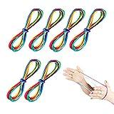 JOYUE 6 Pezzi Giochi di Corda Arcobaleno Dito Twist Stringa Gioco Catena Giocattoli Educativi per Bambini (Lunghezza 165 cm)