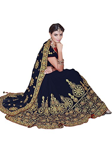 SOURBH Women's Heavy Embroidered Wedding Bridal Saree with blouse piece (3805_Navy Blue)