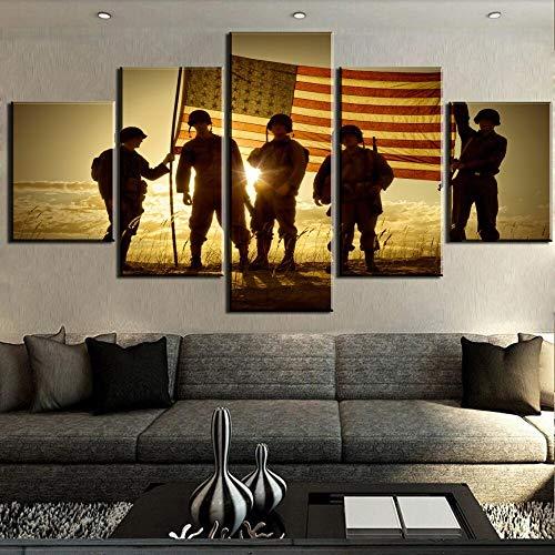 mmwin 5 Stücke Retro Foto Veterans Memorial Leinwand Wandkunst Bild Home Decoration Wohnzimmer Leinwand Decor