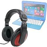 DURAGADGET Auriculares De Diadema para Portátil HP Stream 14-ax003ns / Mediacom SmartBook 14 Ultra Notebook / Medion Akoya E6429 (MD 60182) , S2013 (MD 60077) , S6219 (MD 60627) - Negro Y Rojo - Con Cable De 2 Metros Y Conexión Jack De 3.5mm