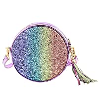 Mibasies Kids Toddler Purse for Little Girls Princess Crossbody Bag with Tassel (Glitter Rainbow)