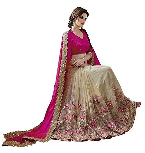 Kamal Georgette Saree With Blouse Piece (A-93075_Pink_Free Size)