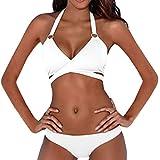 ZARU Bandage einfarbig Split Bikini, Damen Push-Up Gepolsterter BH Neckholder Zweiteilige Bademode Sport Badeanzug Tankini Beachwear Bikini Set (L, Weiß)