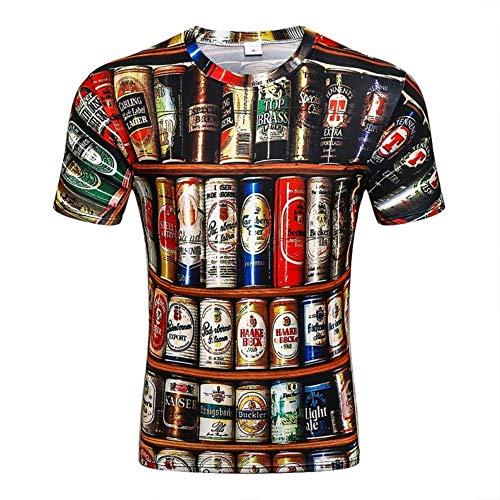 NEWESTAR 3D-T-Shirt Männer Bier Dosen gedruckt Hip Hop Rundhals Kurzarm Männer Frauen/T-Shirt Tops, XXL -
