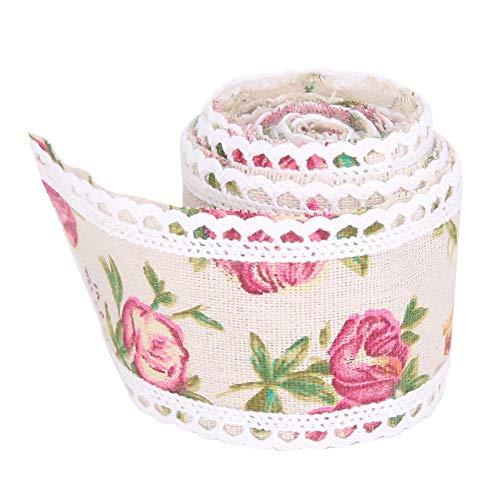 Redxiao Sackleinen Lace Trim Ribbon Roll, handgemachte Blume Kuchen Sackleinen Roll Trim Ribbon Crafts Lace Hochzeit Dekoration Kleidung Zubehör -