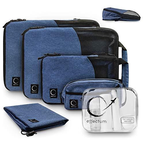 Packtaschen Set mit Kompression + Flugzeug Kosmetiktasche I 6-teiliges Koffer Organizer Set I Packing Cubes für Rucksack-Reisen/Backpacking von effectum