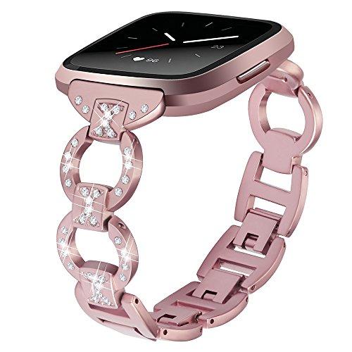 Für Fitbit Versa, Edelstahl Metall Kristall Uhrenarmband, Luxus Hollow Diamant Legierungs Bohrstahlband Handschlaufe Watch Band (Rosa)