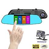 SENDOW Espejo Dash Cámara De Coche 4,5 Pulgadas IPS Pantalla Táctil Full HD Resolución 6 G De Vidrio Doble Lente Con Salpicadero De Vehículo Espejo Retrovisor Cámara Modo Estacionamiento Grabación En