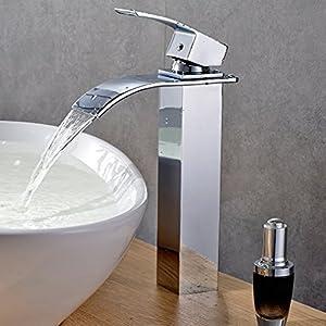 Auralum Grifo monomando, Diseño elegante, mezclador, cascada, para lavabo, baño, cuarto de baño