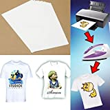 #5: TOTAL HOME: 5Pcs Hot Good Quality T-Shirt A4 Iron-On Inkjet Heat Transfer Paper For Fabrics Cloth New (Color: White)