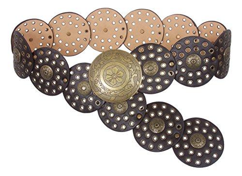 """31/2""""(90mm) de ancho Ladies Wide Boho Disco Concho cinturón de cuero - Marrón - XXX-Large - 54 de extremo a extremo"""