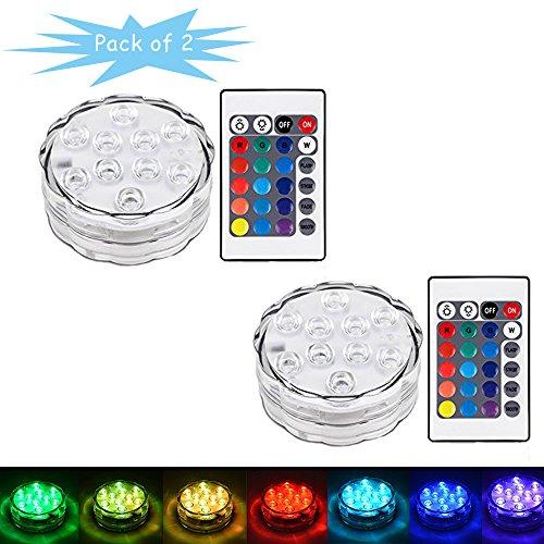 Onerbuy 2 Pack Submersible LED allume la lumière d'appoint à changement de couleur RVB à piles avec télécommande pour la fête, base de vase, mariage, Noël, aquarium, étang