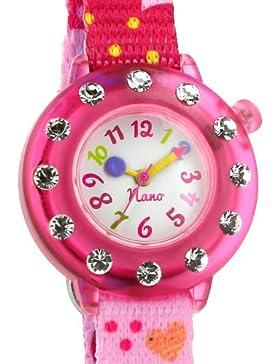 Baby Watch Mädchen-Armbanduhr Analog Textil rosa nano strass 071