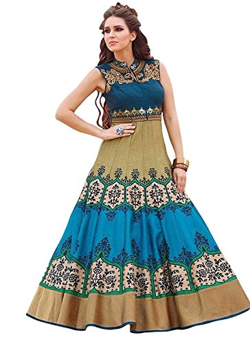 Aarvicouture Women\'s Gown Latest Party Wear Designer Net silk Embroidery Semi Stitched Free Size Salwar Suit Dress Material Available On Sale