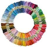 PIXNOR 100 madejas de 8M multicolor algodón suave cruz puntada del bordado hilos seda coser hilos (Color al azar)