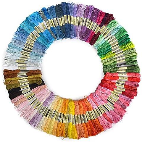 Pixnor 100matassine di 8m multicolore morbido cotone