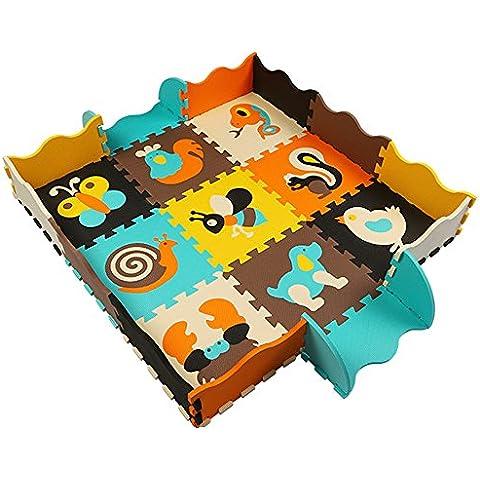 Goodid Alfombra Puzzle con Valla 25 Piezas, Alfombra Infantil de Juegos Para Niños 120cm*120cm*1.2cm(